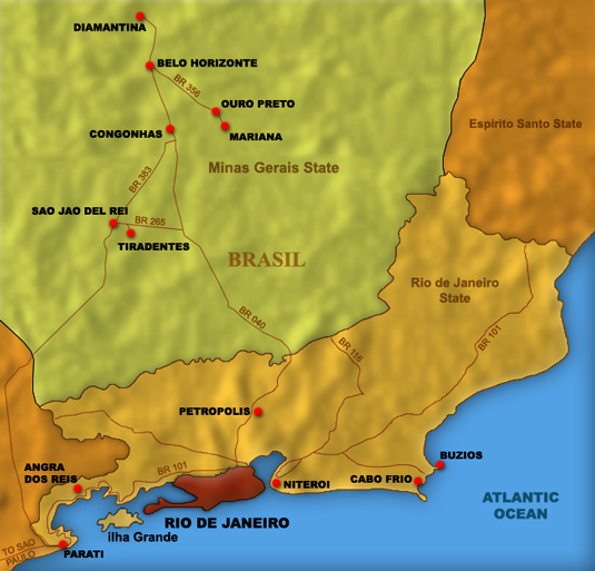 Map of Minas Gerais Nearby Sights
